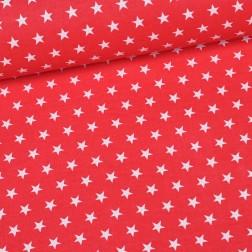 Bílé hvězdičky (3cm) na červeném podkladě