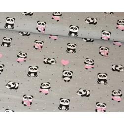 Panda s růžovým balónkem na šedém podkladě