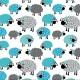 Šedé a tyrkysové ovečky vzor 665